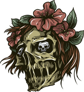 Skull Vector Element With Flowers