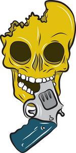 Skull Vector Element With Gun