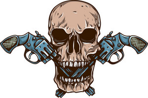 Skull Vector Element With Guns