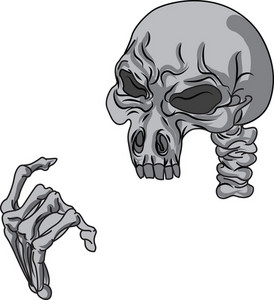 Skull Vector Element With Hand