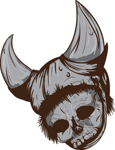 Skull Vector Element With Hat And Horn
