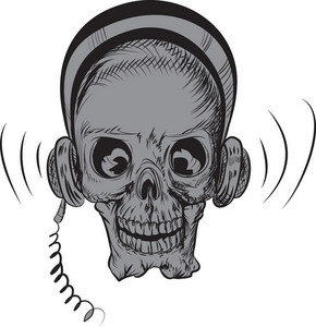 Skull Vector Element With Headphone