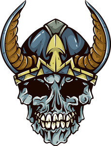 Skull Vector Element With Helmet And Horns