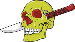 Skull Vector Element With Knife