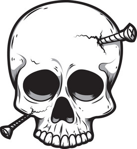 Skull Vector Element With Nails
