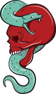 Skull Vector Element With Snake