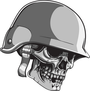 Skull Vector Element With Soldier Helmet