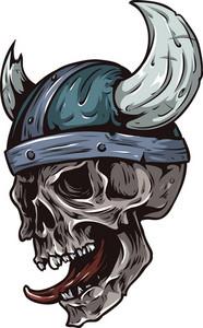 Skull Vector Element With Viking Helmet