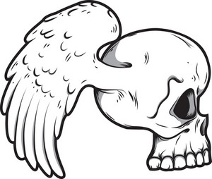Skull Vector Element With Wing