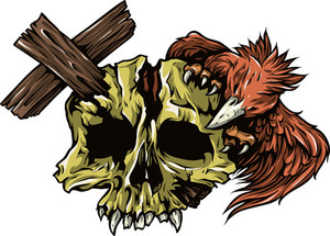 Skull Vector Element With Wood Cross And Bird
