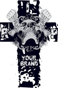 Skull With Cross Vector T-shirt Design