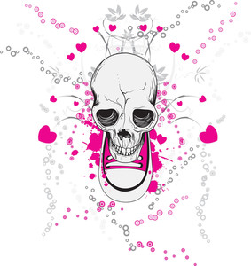 Skull With Hearts Vector T-shirt Design
