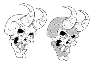 Skull With Horn Vector Illustration