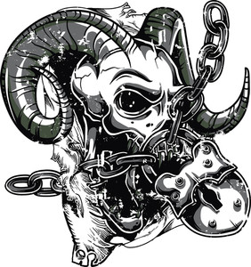 Skull With Horns Vector T-shirt Design