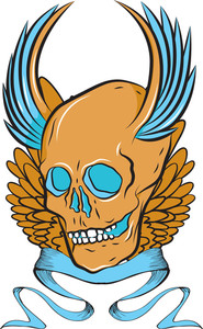 Skull With Wings Vector T-shirt Design