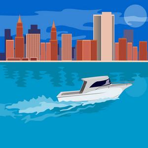 Skycrapers With Speedboat