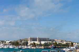 Skyline of the island of Bermuda at the Kings Wharf and Royal Naval Dockyard at the Ireland Island section.