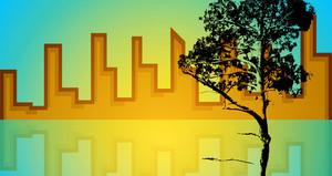 Skyline With Tree Silhouette
