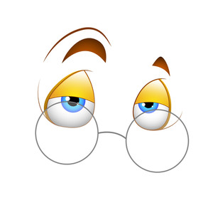 Sleepily Eyes With Specs Vector