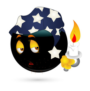 Sleepy Smiley With Candle Vector