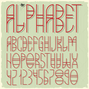 Slim Red Alphabet Letters And Numbers