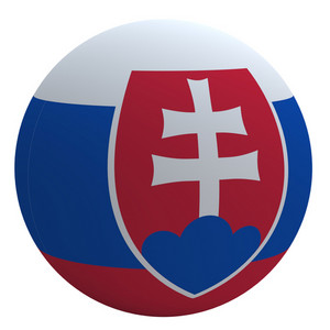 Slovakia Flag On The Ball Isolated On White.