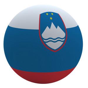 Slovenia Flag On The Ball Isolated On White.