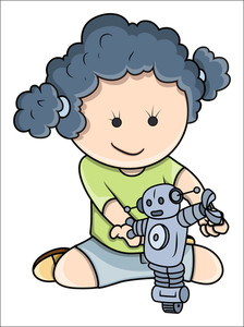 Small Girl Playing With Robots - Vector Cartoon Illustration