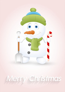 Small Snowman With Spade And Candy Cane