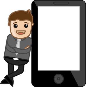 Smartphone Vector Mockup With A Man - Vector Illustration