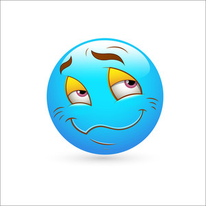 Smiley Emoticons Face Vector - Blushing