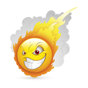 Smiley Emoticons Face Vector - Burning Expression