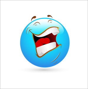 Smiley Emoticons Face Vector - Laughing Loudly