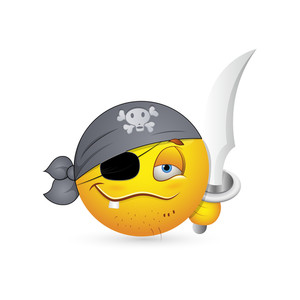Smiley Emoticons Face Vector - Pirate Look