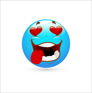 Smiley Emoticons Face Vector - Romantic