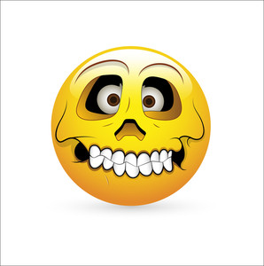 Smiley Emoticons Face Vector - Skull Expression