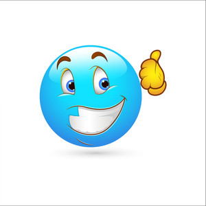 Smiley Emoticons Face Vector - Thumbs Up