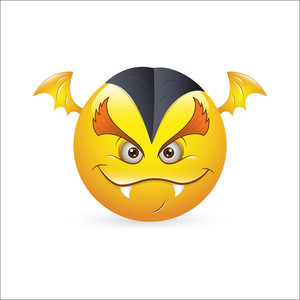 Smiley Emoticons Face Vector - Vampire Expression