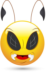 Smiley Vector Illustration - Evil Bee Face