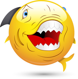 Smiley Vector Illustration - Evil Fish