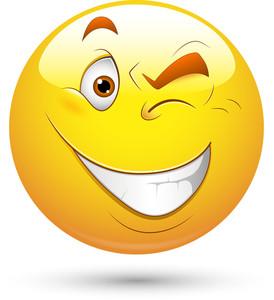 Smiley Vector Illustration - Eye Blinking
