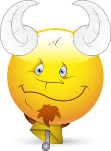 Smiley Vector Illustration - Face With Horn And Bell