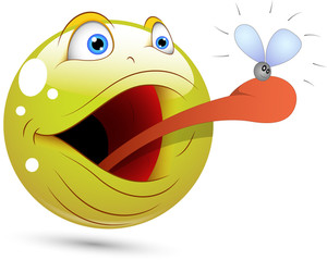 Smiley Vector Illustration - Frog Catching Fly Face