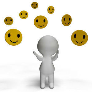 Smileys Smiling And 3d Character Shows Happiness