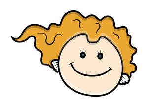 Smiling Cartoon Girl Face