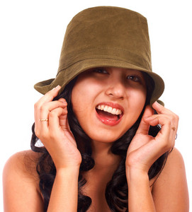 Smiling Fashionable Girl Wearing A Hat