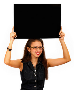 Smiling Girl Holding A Black Blank Board