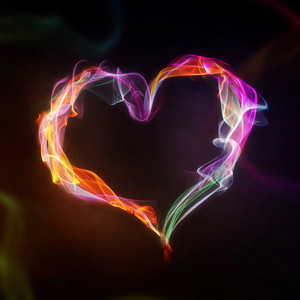 Smoke and flame heart on a black background