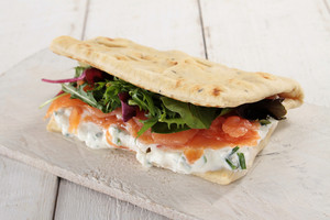 Smoked Salmon And Cream Cheese Flatbread Wrap