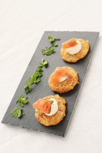 Smoked Salmon Corn Bread Canapes